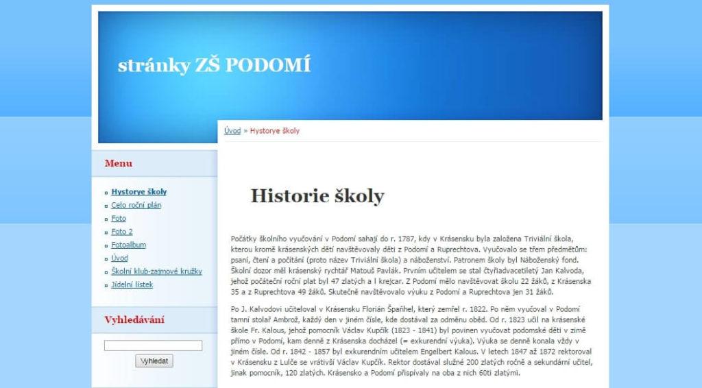 Internetové stránky školy v Podomí. 2016