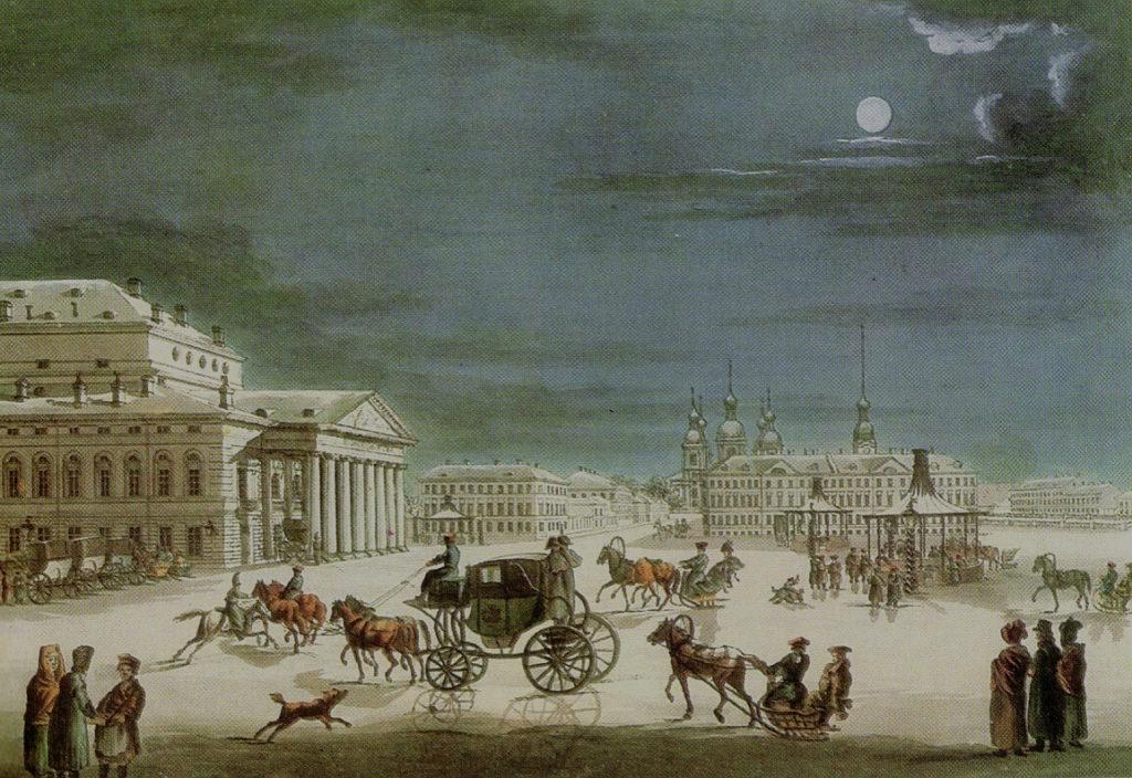 Petrohradská společnost před Velkým divadlem