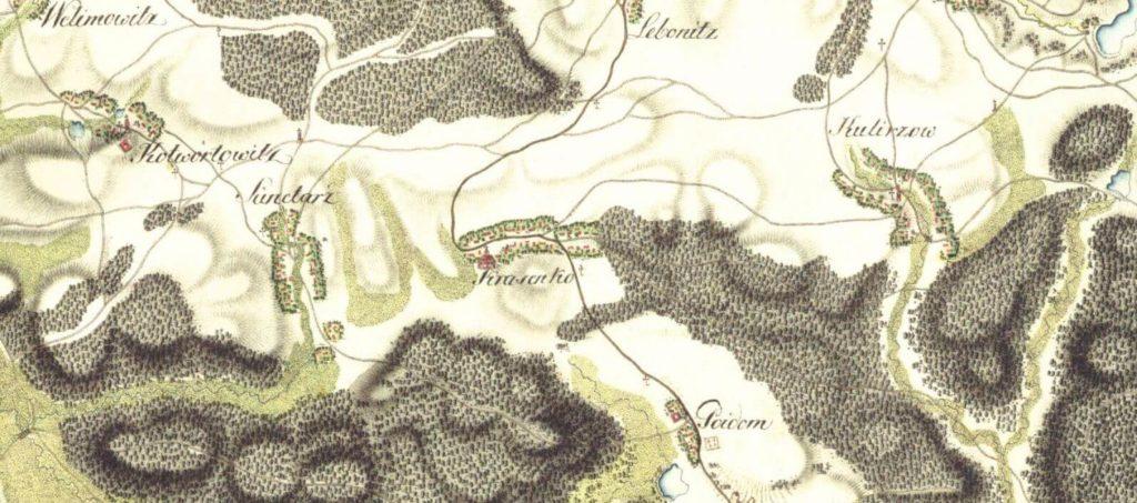 Krásensko a okolí na mapě z 19. století