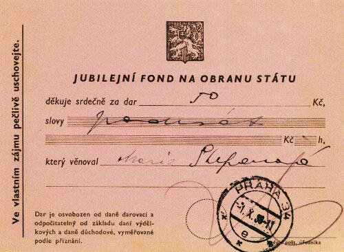 Potvrzení o daru Jubilejnímu fondu na obranu státu